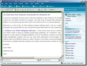 windows live writer in action screenshot