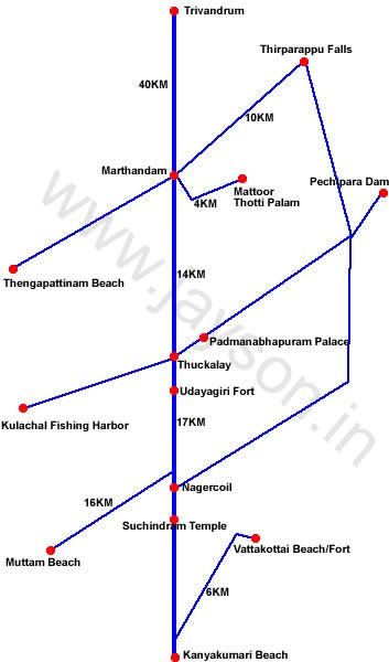 kanyakumari tourist places - route map