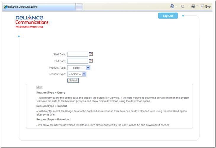 sample page from reliance bill pay