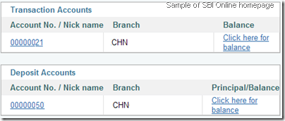 SBI Online - Home page without total balance