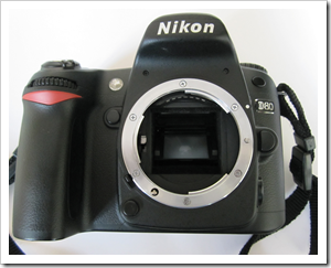 Nikon D80 - lens is removed and mirror is still in place which protects image sensor