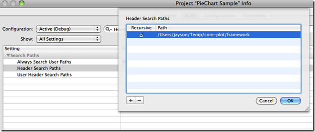 Adding header search paths for a Core Plot project