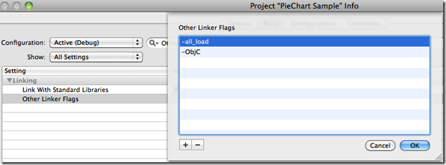 Configuring linker flags for a Core Plot project