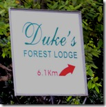 Dukes Forest Lodge Board at Vithura