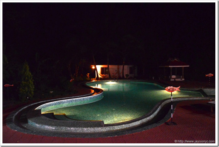 dukes forest lodge swimming pool at night