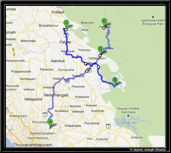 Route map of our trip - Peppara dam, Palode botanical garden, Dukes Forest Lodge and Ponmudi