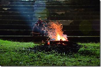 Camp fire at Golden Peak
