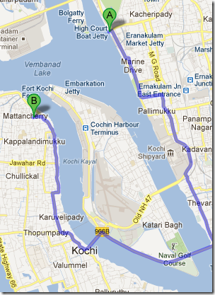 Route to Kayees Rahmathulla Hotel, Mattancherry from Marine Drive